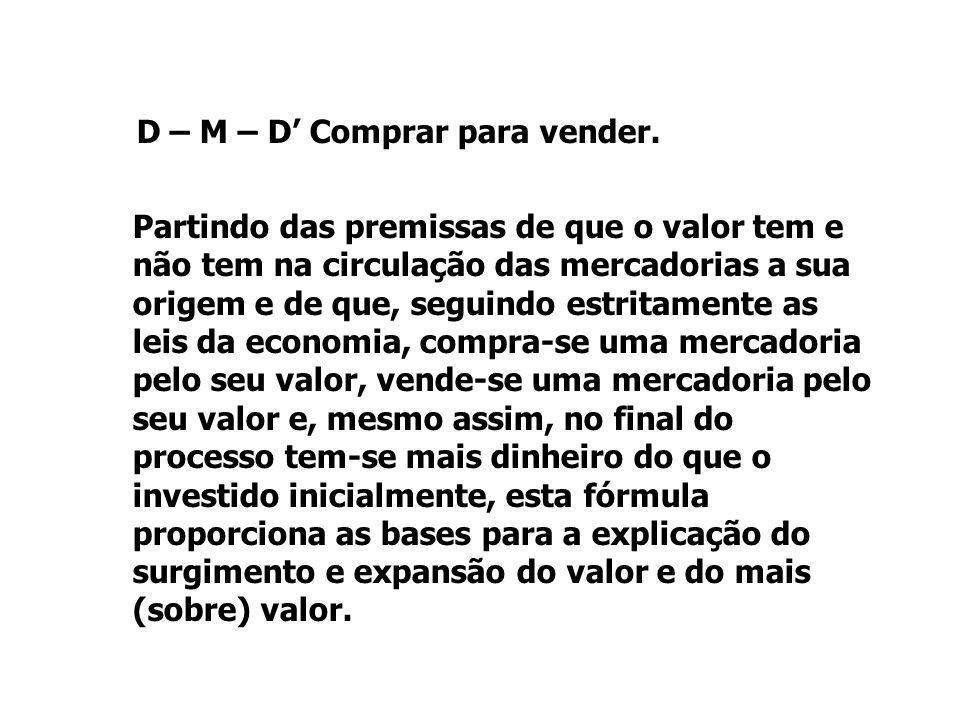 D – M – D' Comprar para vender. Partindo das premissas de que o valor tem e não tem na circulação das mercadorias a sua origem e de que, seguindo estr