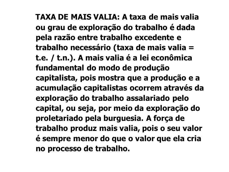TAXA DE MAIS VALIA: A taxa de mais valia ou grau de exploração do trabalho é dada pela razão entre trabalho excedente e trabalho necessário (taxa de mais valia = t.e.
