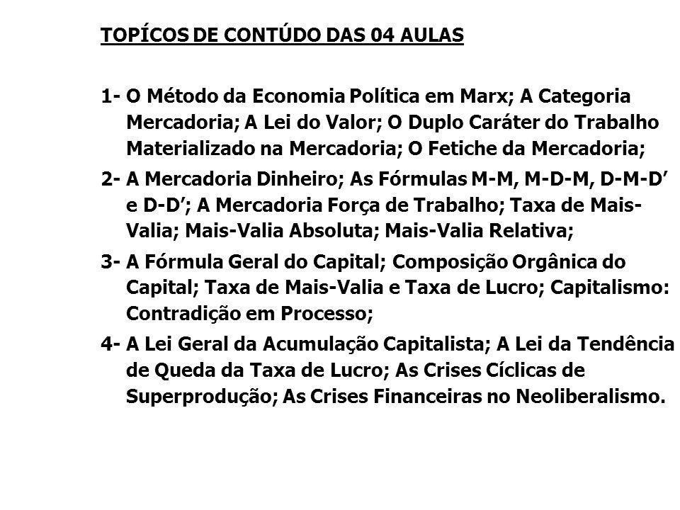 TOPÍCOS DE CONTÚDO DAS 04 AULAS 1- O Método da Economia Política em Marx; A Categoria Mercadoria; A Lei do Valor; O Duplo Caráter do Trabalho Material