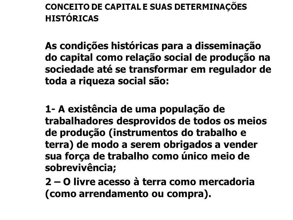 CONCEITO DE CAPITAL E SUAS DETERMINAÇÕES HISTÓRICAS As condições históricas para a disseminação do capital como relação social de produção na sociedad