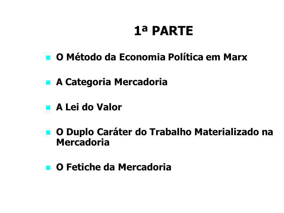 1ª PARTE O Método da Economia Política em Marx A Categoria Mercadoria A Lei do Valor O Duplo Caráter do Trabalho Materializado na Mercadoria O Fetiche