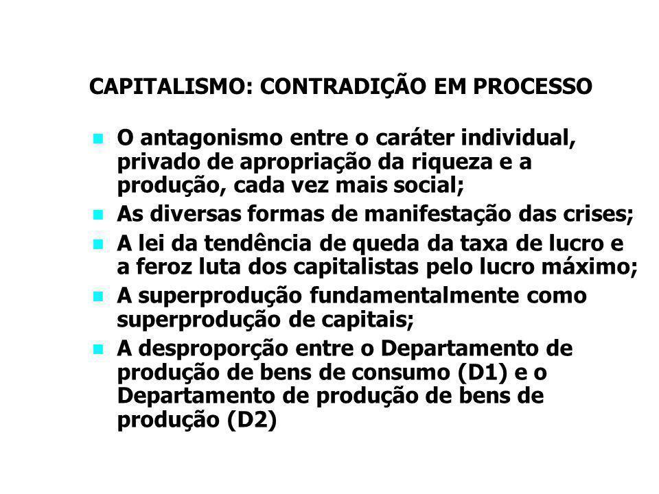 CAPITALISMO: CONTRADIÇÃO EM PROCESSO O antagonismo entre o caráter individual, privado de apropriação da riqueza e a produção, cada vez mais social; As diversas formas de manifestação das crises; A lei da tendência de queda da taxa de lucro e a feroz luta dos capitalistas pelo lucro máximo; A superprodução fundamentalmente como superprodução de capitais; A desproporção entre o Departamento de produção de bens de consumo (D1) e o Departamento de produção de bens de produção (D2)