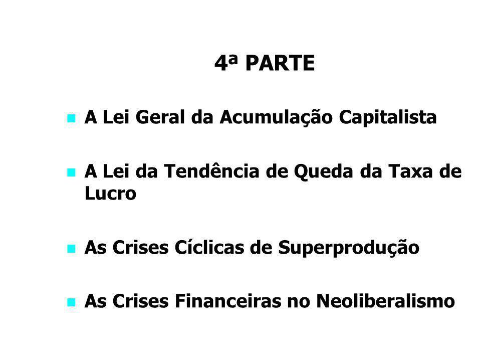 4ª PARTE A Lei Geral da Acumulação Capitalista A Lei da Tendência de Queda da Taxa de Lucro As Crises Cíclicas de Superprodução As Crises Financeiras