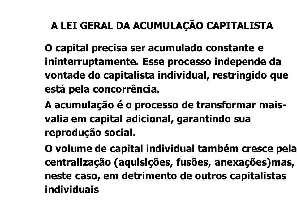 A LEI GERAL DA ACUMULAÇÃO CAPITALISTA O capital precisa ser acumulado constante e ininterruptamente. Esse processo independe da vontade do capitalista