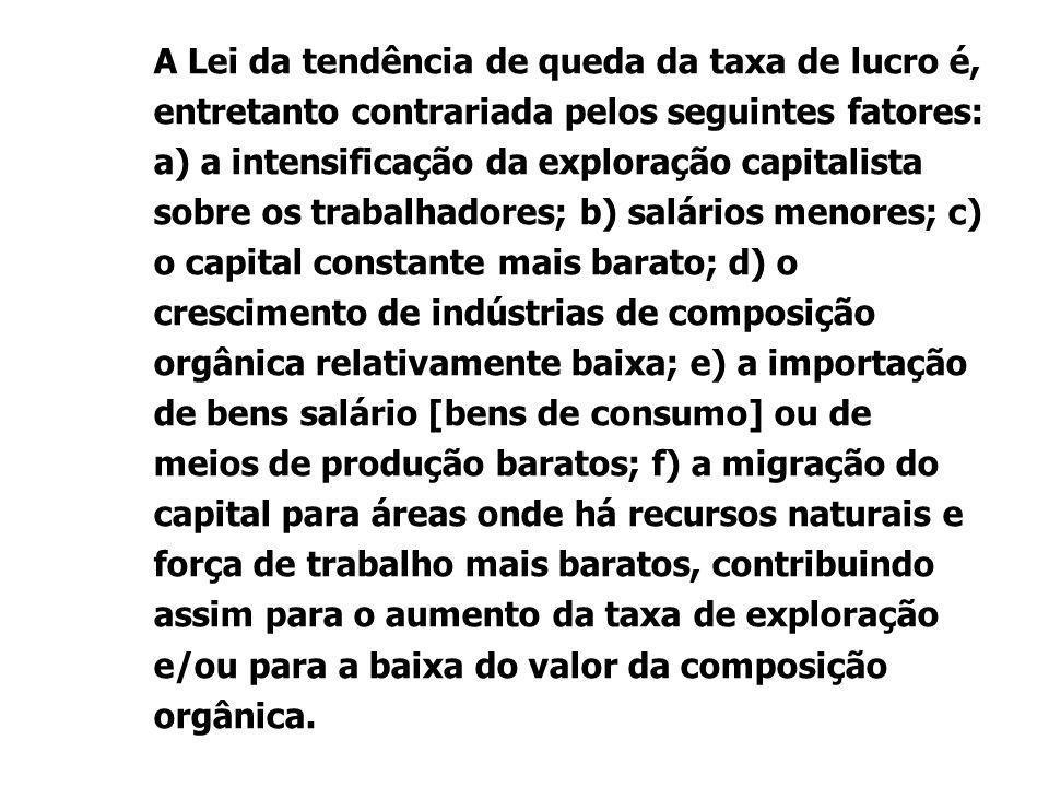 A Lei da tendência de queda da taxa de lucro é, entretanto contrariada pelos seguintes fatores: a) a intensificação da exploração capitalista sobre os