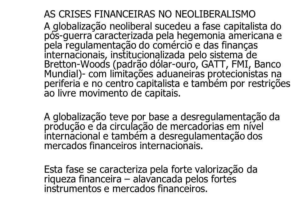 AS CRISES FINANCEIRAS NO NEOLIBERALISMO A globalização neoliberal sucedeu a fase capitalista do pós-guerra caracterizada pela hegemonia americana e pe