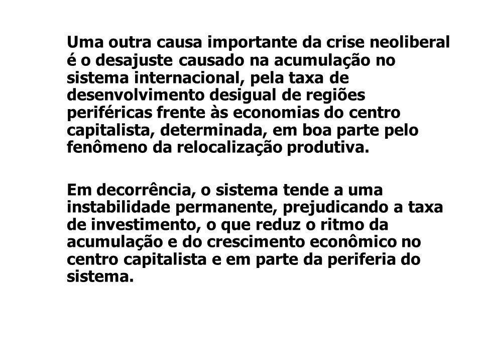 Uma outra causa importante da crise neoliberal é o desajuste causado na acumulação no sistema internacional, pela taxa de desenvolvimento desigual de
