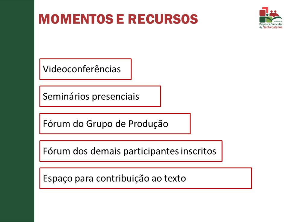 MOMENTOS E RECURSOS Videoconferências Seminários presenciais Fórum do Grupo de Produção Fórum dos demais participantes inscritos Espaço para contribui