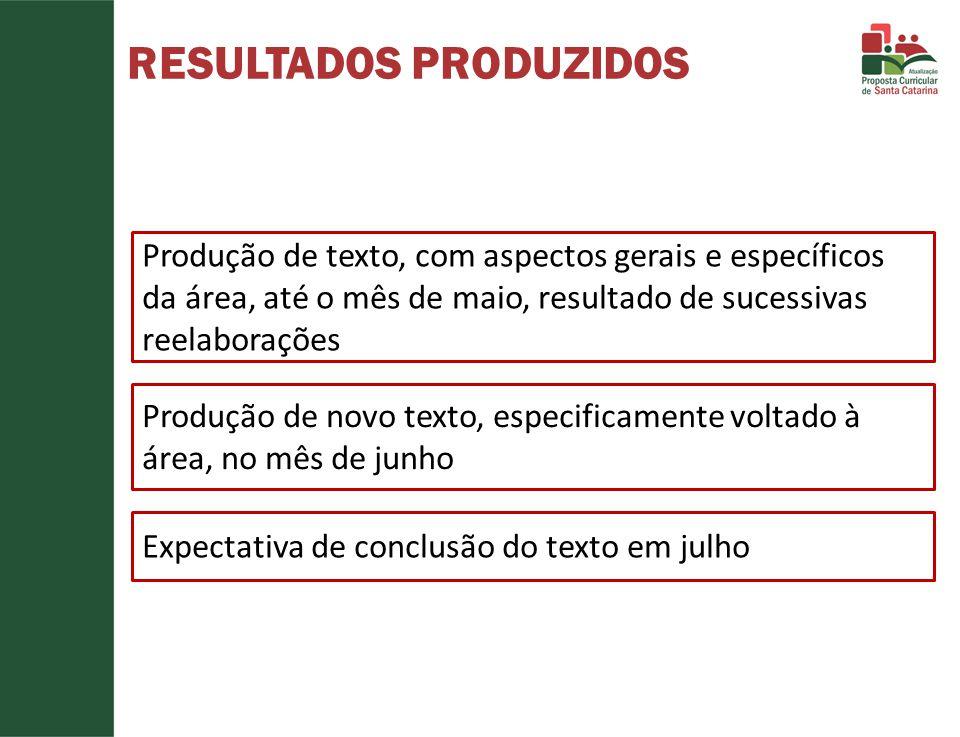 RESULTADOS PRODUZIDOS Produção de texto, com aspectos gerais e específicos da área, até o mês de maio, resultado de sucessivas reelaborações Produção