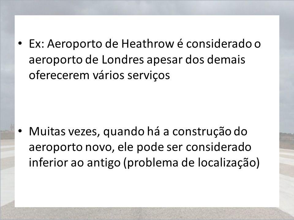 Ex: Aeroporto de Heathrow é considerado o aeroporto de Londres apesar dos demais oferecerem vários serviços Muitas vezes, quando há a construção do ae