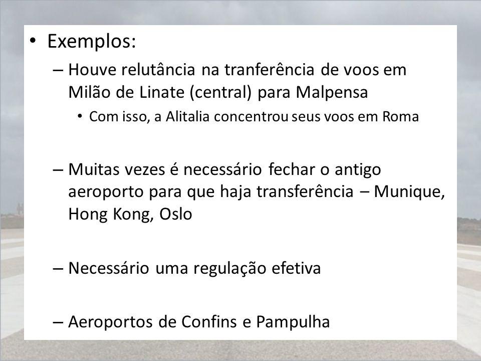 Exemplos: – Houve relutância na tranferência de voos em Milão de Linate (central) para Malpensa Com isso, a Alitalia concentrou seus voos em Roma – Mu