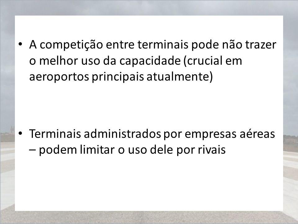 A competição entre terminais pode não trazer o melhor uso da capacidade (crucial em aeroportos principais atualmente) Terminais administrados por empr