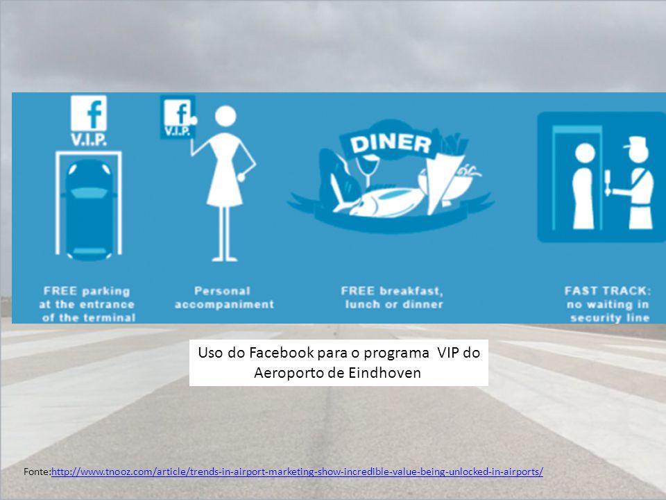 Uso do Facebook para o programa VIP do Aeroporto de Eindhoven Fonte:http://www.tnooz.com/article/trends-in-airport-marketing-show-incredible-value-bei
