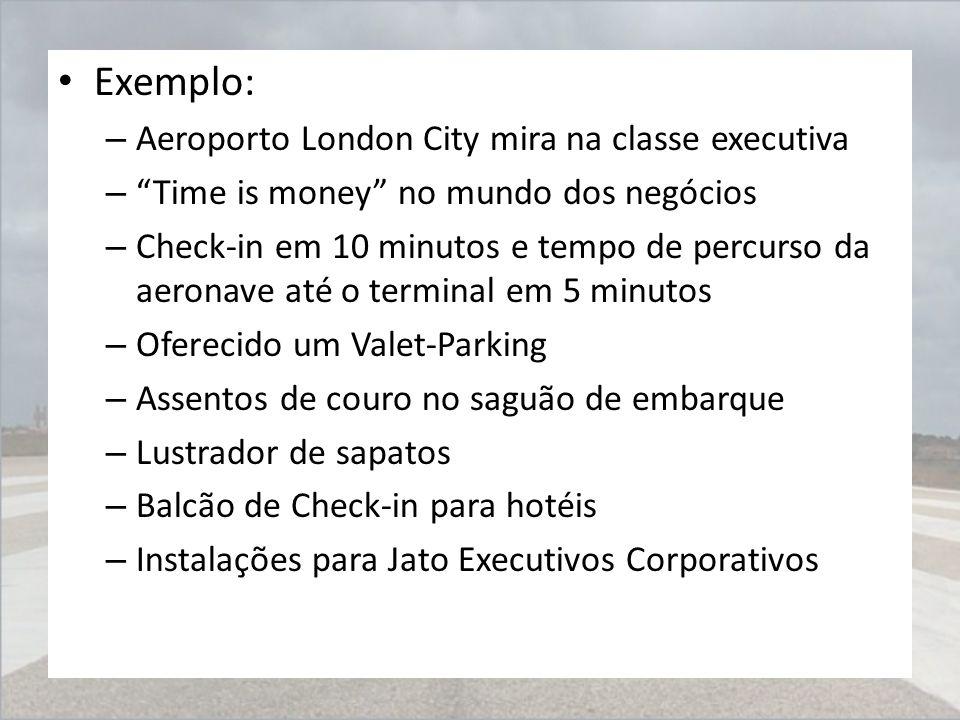 """Exemplo: – Aeroporto London City mira na classe executiva – """"Time is money"""" no mundo dos negócios – Check-in em 10 minutos e tempo de percurso da aero"""