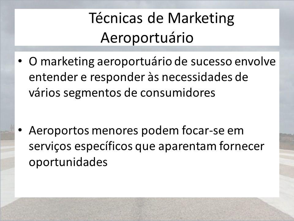 Técnicas de Marketing Aeroportuário O marketing aeroportuário de sucesso envolve entender e responder às necessidades de vários segmentos de consumido