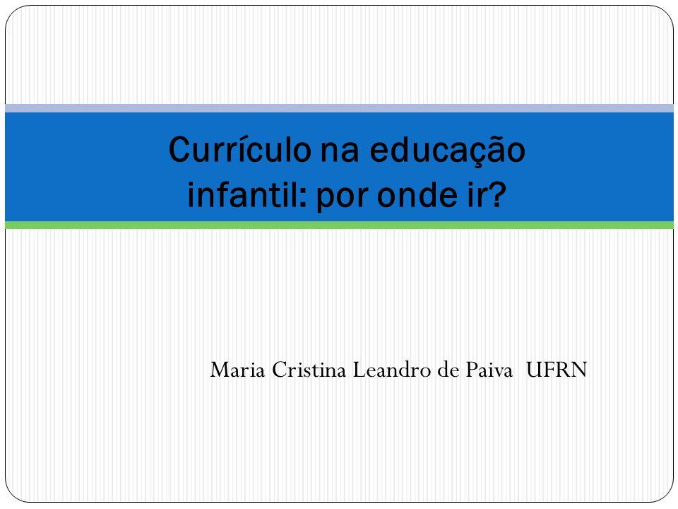Currículo na educação infantil: por onde ir? Maria Cristina Leandro de Paiva UFRN