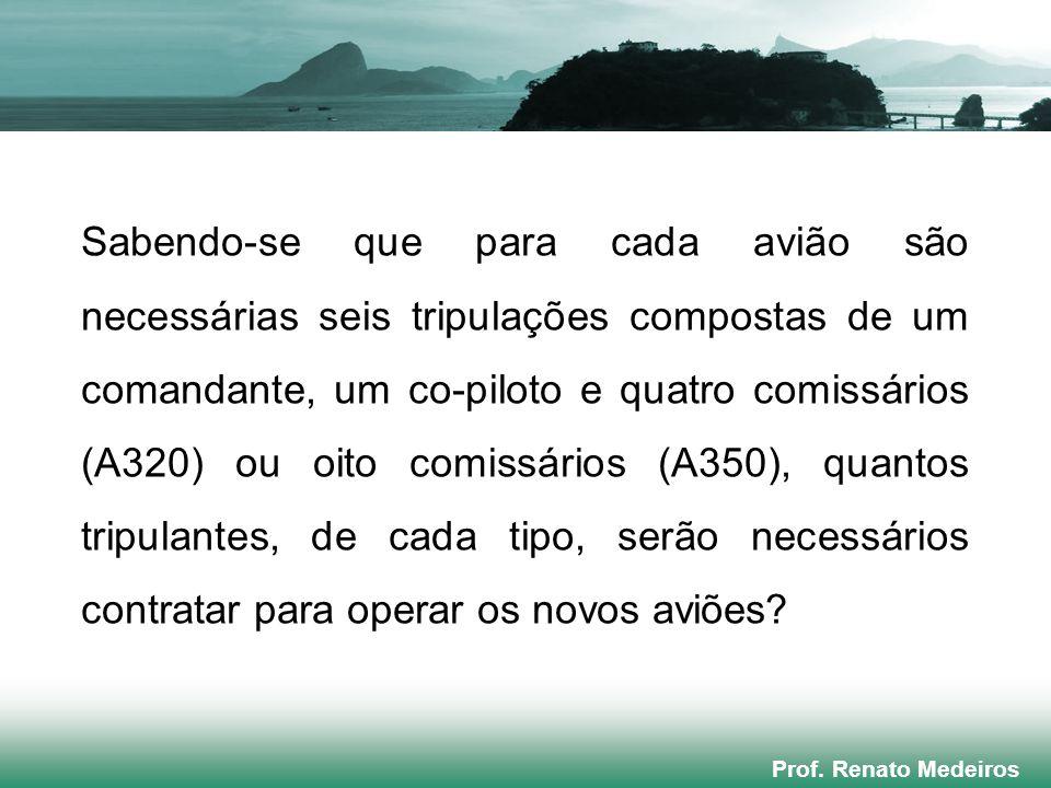 Prof. Renato Medeiros Sabendo-se que para cada avião são necessárias seis tripulações compostas de um comandante, um co-piloto e quatro comissários (A