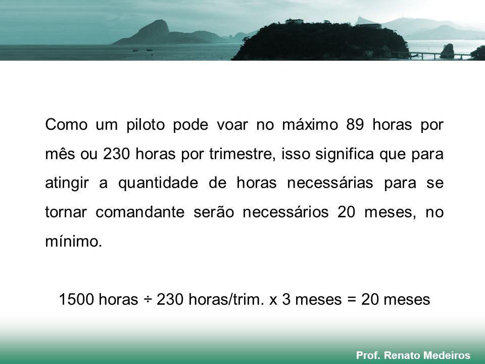 Prof. Renato Medeiros Como um piloto pode voar no máximo 89 horas por mês ou 230 horas por trimestre, isso significa que para atingir a quantidade de