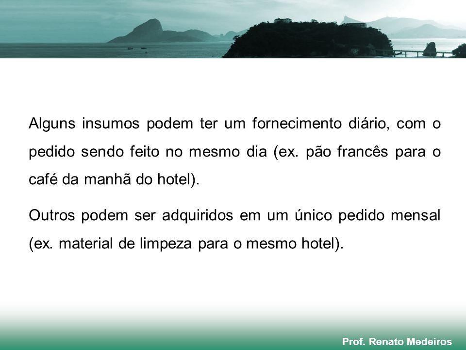 Prof. Renato Medeiros Alguns insumos podem ter um fornecimento diário, com o pedido sendo feito no mesmo dia (ex. pão francês para o café da manhã do