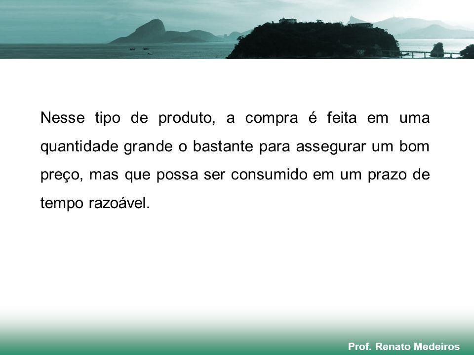 Prof. Renato Medeiros Nesse tipo de produto, a compra é feita em uma quantidade grande o bastante para assegurar um bom preço, mas que possa ser consu