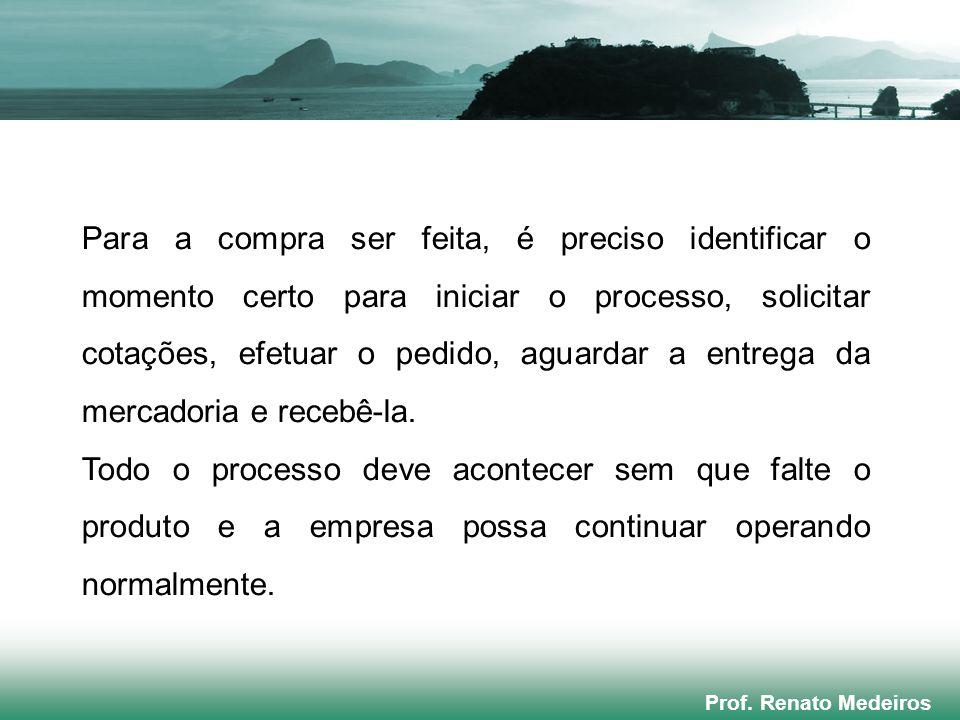 Prof. Renato Medeiros Para a compra ser feita, é preciso identificar o momento certo para iniciar o processo, solicitar cotações, efetuar o pedido, ag