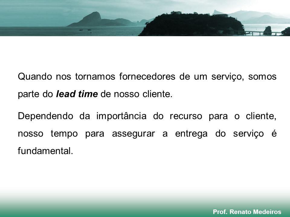 Prof. Renato Medeiros Quando nos tornamos fornecedores de um serviço, somos parte do lead time de nosso cliente. Dependendo da importância do recurso