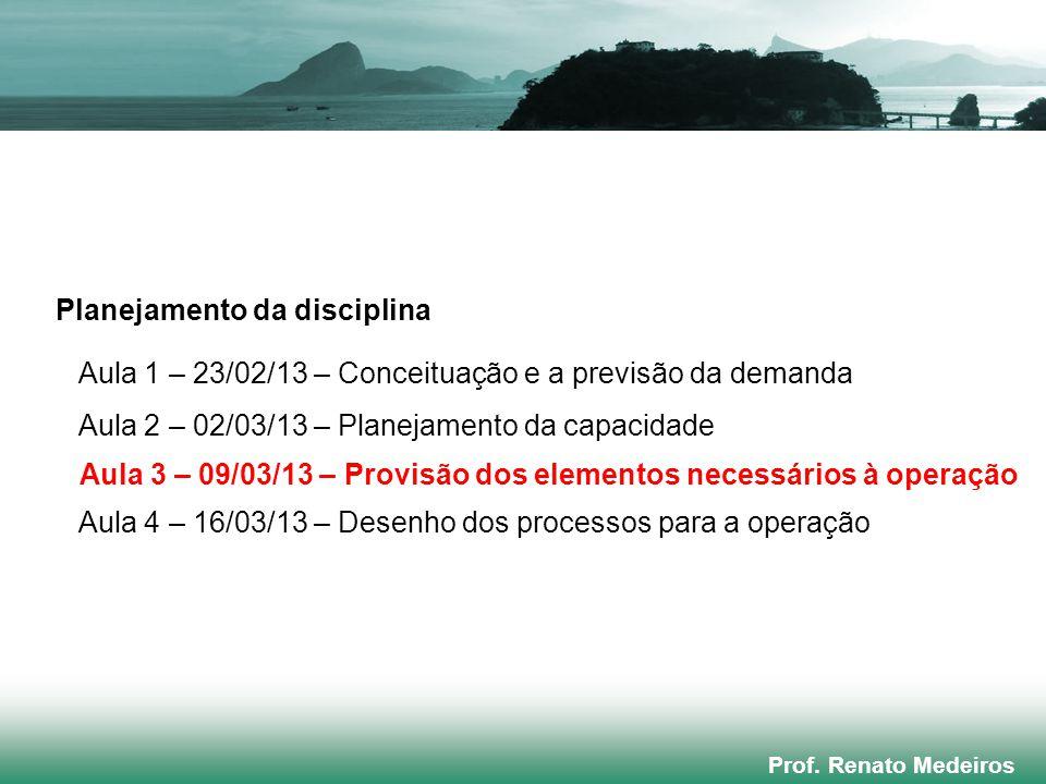 Prof. Renato Medeiros Planejamento da disciplina Aula 1 – 23/02/13 – Conceituação e a previsão da demanda Aula 2 – 02/03/13 – Planejamento da capacida