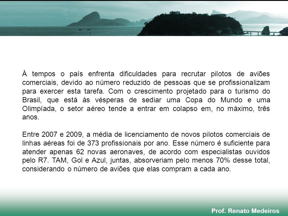 Prof. Renato Medeiros À tempos o país enfrenta dificuldades para recrutar pilotos de aviões comerciais, devido ao número reduzido de pessoas que se pr