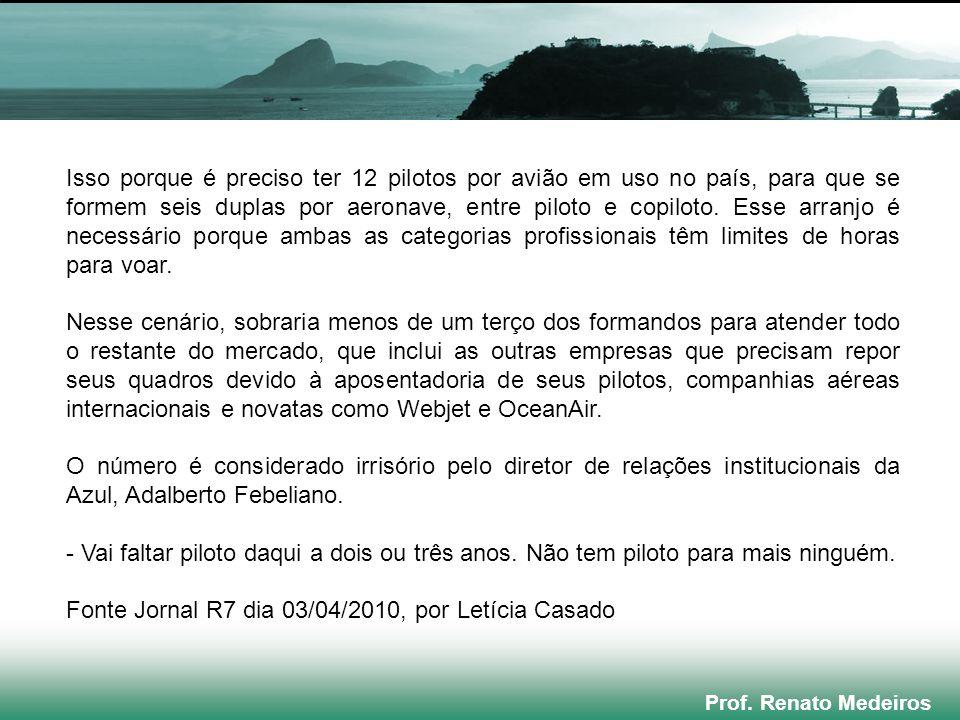 Prof. Renato Medeiros Isso porque é preciso ter 12 pilotos por avião em uso no país, para que se formem seis duplas por aeronave, entre piloto e copil