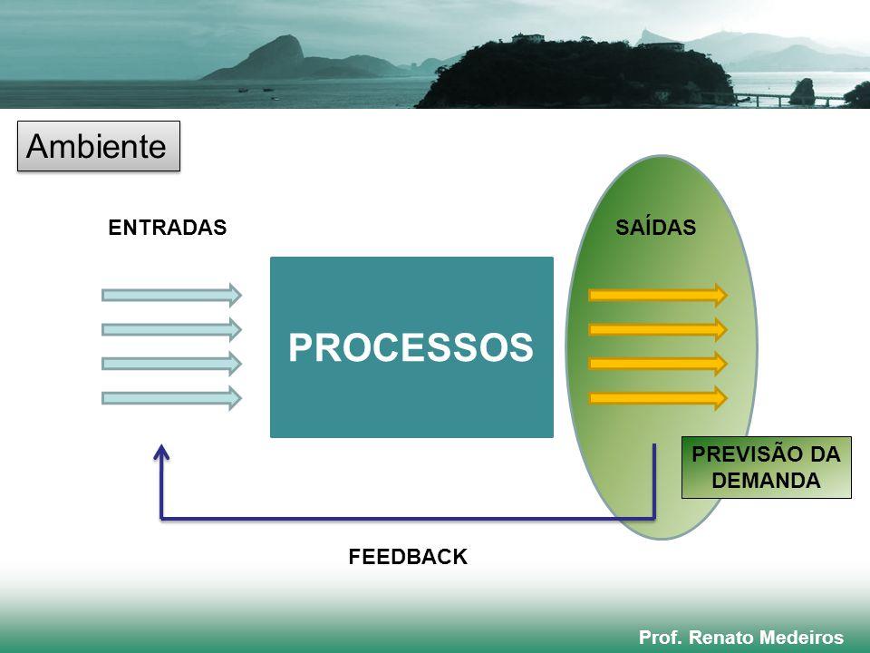 Prof. Renato Medeiros PROCESSOS ENTRADASSAÍDAS FEEDBACK Ambiente PREVISÃO DA DEMANDA