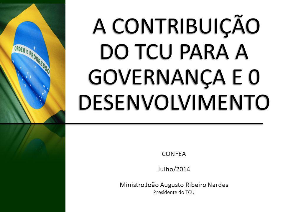 A CONTRIBUIÇÃO DO TCU PARA A A CONTRIBUIÇÃO DO TCU PARA A GOVERNANÇA E 0 DESENVOLVIMENTO CONFEA Julho/2014 Ministro João Augusto Ribeiro Nardes Presid