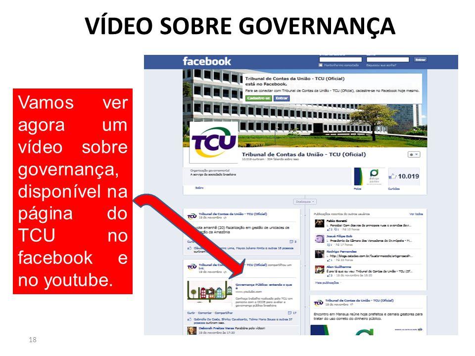 VÍDEO SOBRE GOVERNANÇA 18 Vamos ver agora um vídeo sobre governança, disponível na página do TCU no facebook e no youtube.