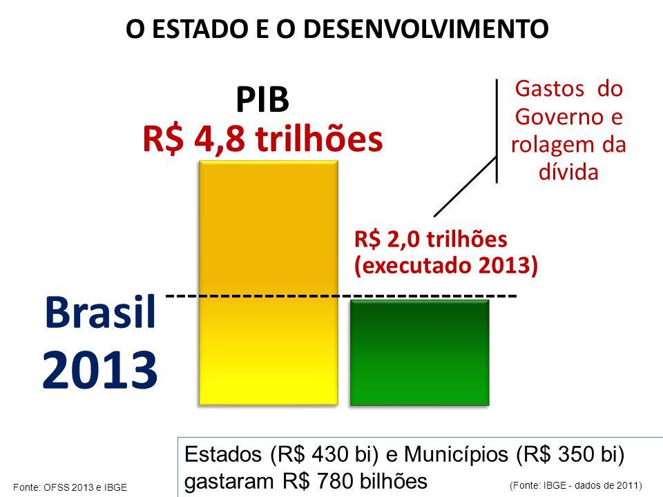 Brasil 2013 PIB R$ 4,8 trilhões R$ 2,0 trilhões (executado 2013) Gastos do Governo e rolagem da dívida O ESTADO E O DESENVOLVIMENTO Estados (R$ 430 bi