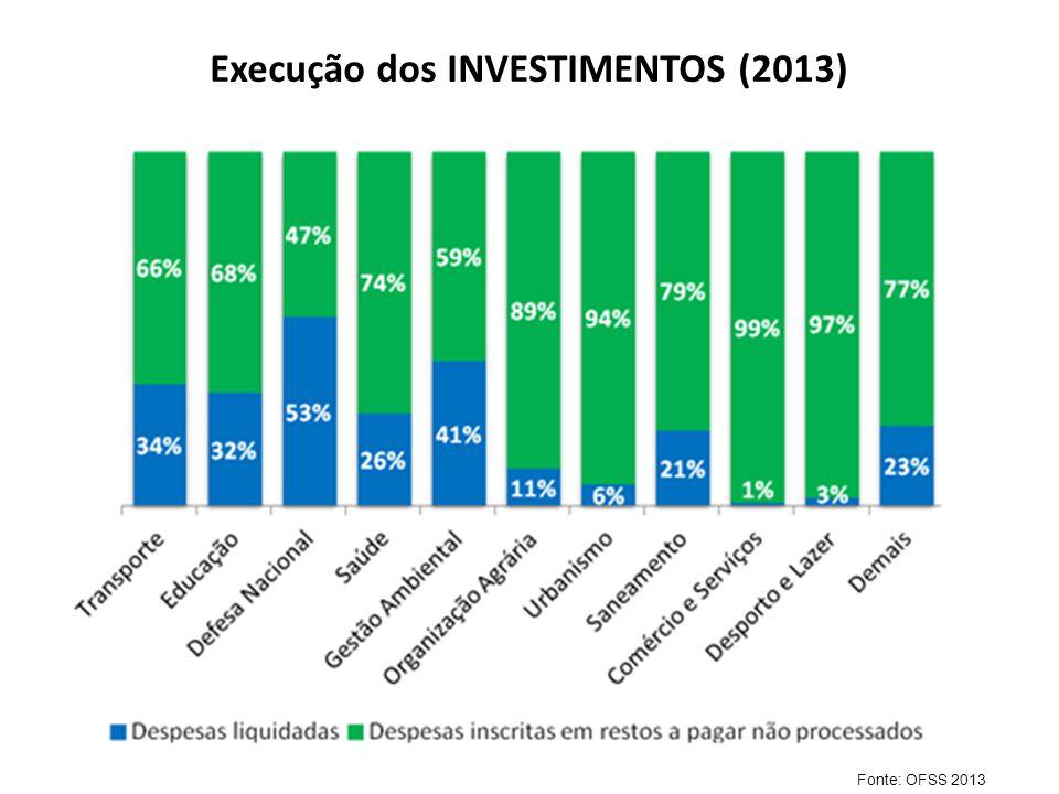 Execução dos INVESTIMENTOS (2013) Fonte: OFSS 2013