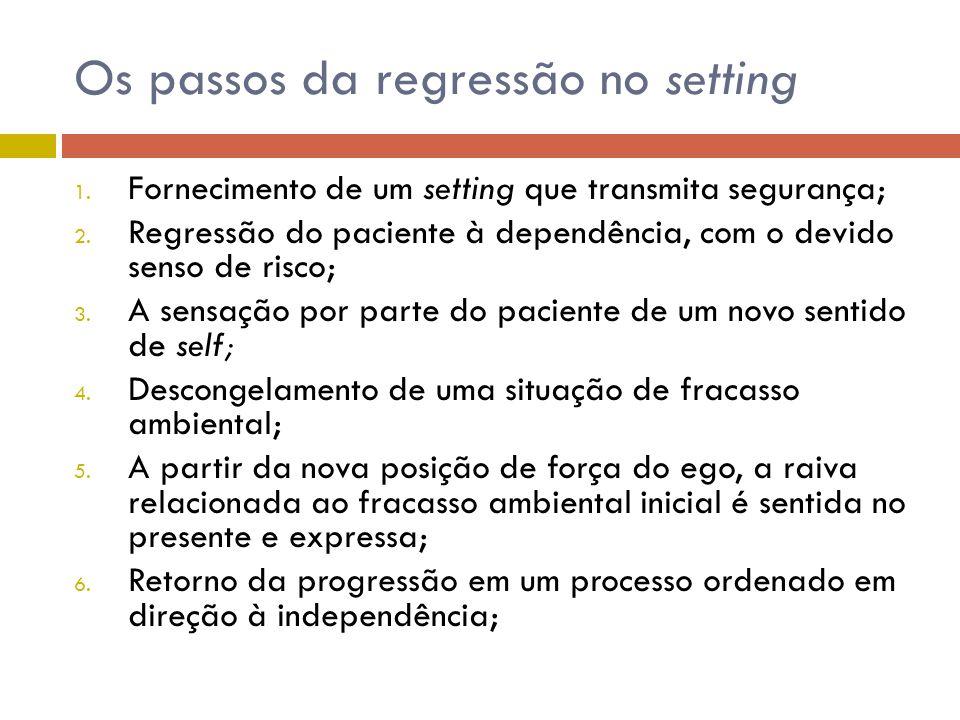 Os passos da regressão no setting 1. Fornecimento de um setting que transmita segurança; 2. Regressão do paciente à dependência, com o devido senso de