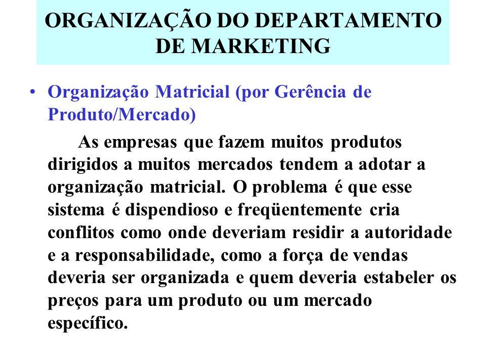 ORGANIZAÇÃO DO DEPARTAMENTO DE MARKETING Organização Matricial (por Gerência de Produto/Mercado) As empresas que fazem muitos produtos dirigidos a muitos mercados tendem a adotar a organização matricial.