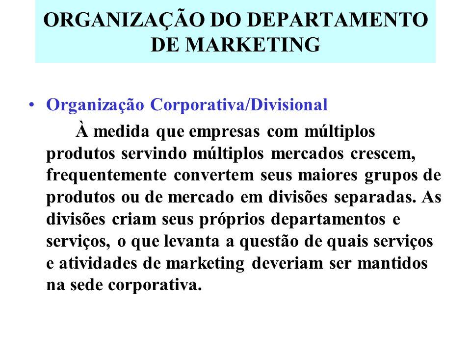 ORGANIZAÇÃO DO DEPARTAMENTO DE MARKETING Organização Corporativa/Divisional À medida que empresas com múltiplos produtos servindo múltiplos mercados crescem, frequentemente convertem seus maiores grupos de produtos ou de mercado em divisões separadas.
