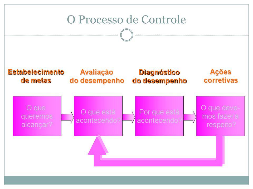 O Processo de Controle O que queremos alcançar?Estabelecimento de metas O que está acontecendo?Avaliação do desempenho Por que está acontecendo?Diagnóstico do desempenho O que deve- mos fazer a respeito?Açõescorretivas