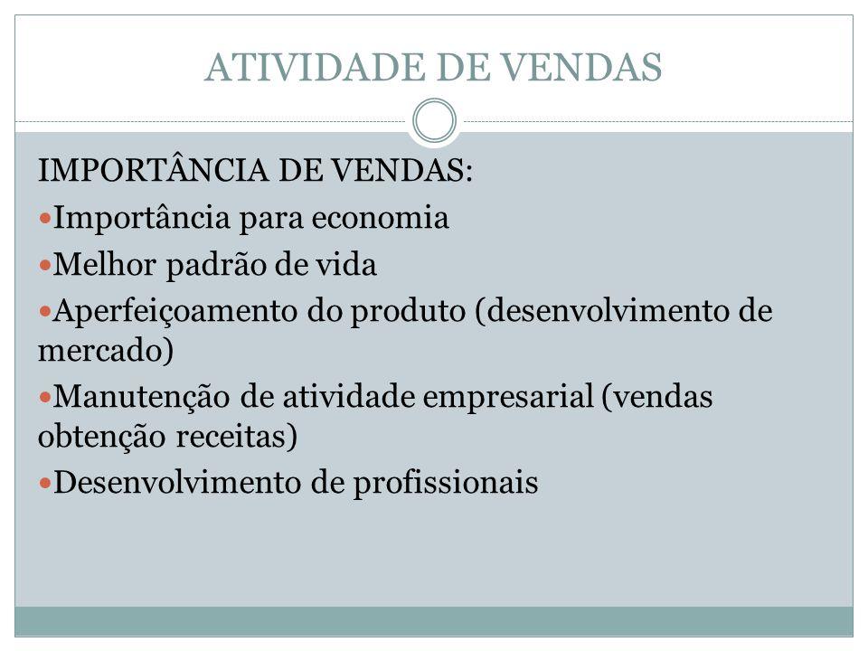 ATIVIDADE DE VENDAS IMPORTÂNCIA DE VENDAS: Importância para economia Melhor padrão de vida Aperfeiçoamento do produto (desenvolvimento de mercado) Manutenção de atividade empresarial (vendas obtenção receitas) Desenvolvimento de profissionais