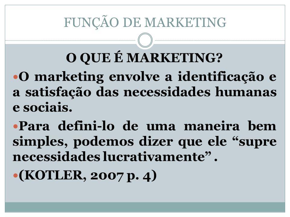 FUNÇÃO DE MARKETING O QUE É MARKETING? O marketing envolve a identificação e a satisfação das necessidades humanas e sociais. Para defini-lo de uma ma