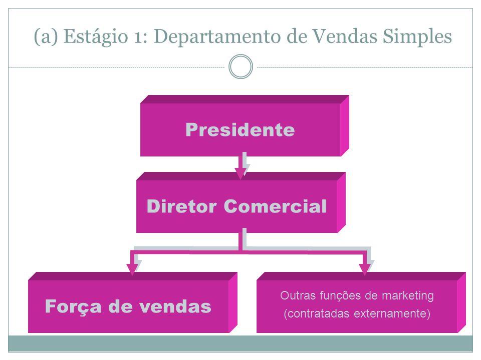 (a) Estágio 1: Departamento de Vendas Simples Presidente Diretor Comercial Força de vendas Outras funções de marketing (contratadas externamente)