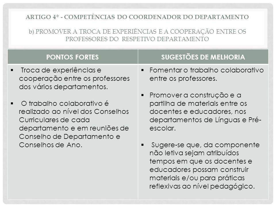 ARTIGO 4º - COMPETÊNCIAS DO COORDENADOR DO DEPARTAMENTO o) PROPOR, AO CONSELHO PEDAGÓGICO, DEPOIS DE OUVIDOS OS CONSELHOS CURRICULARES: OS CRITÉRIOS GERAIS A QUE DEVE OBEDECER A ELABORAÇÃO DE HORÁRIOS E DAS TURMAS PONTOS FORTESSUGESTÕES DE MELHORIA  Alguns docentes dos departamentos de Expressões e do 1ºciclo referem que normalmente o departamento elabora propostas sobre critérios gerais a que deve obedecer a elaboração de horários e das turmas.
