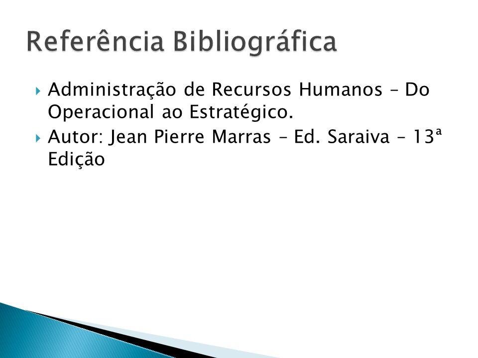  Administração de Recursos Humanos – Do Operacional ao Estratégico.  Autor: Jean Pierre Marras – Ed. Saraiva – 13ª Edição