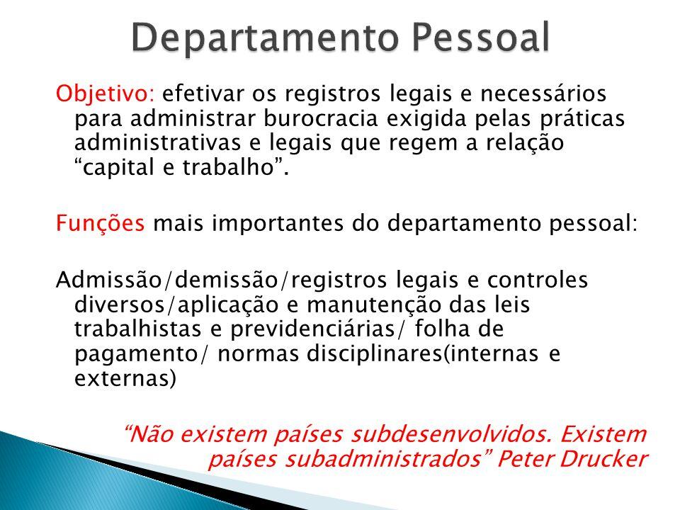 """Objetivo: efetivar os registros legais e necessários para administrar burocracia exigida pelas práticas administrativas e legais que regem a relação """""""