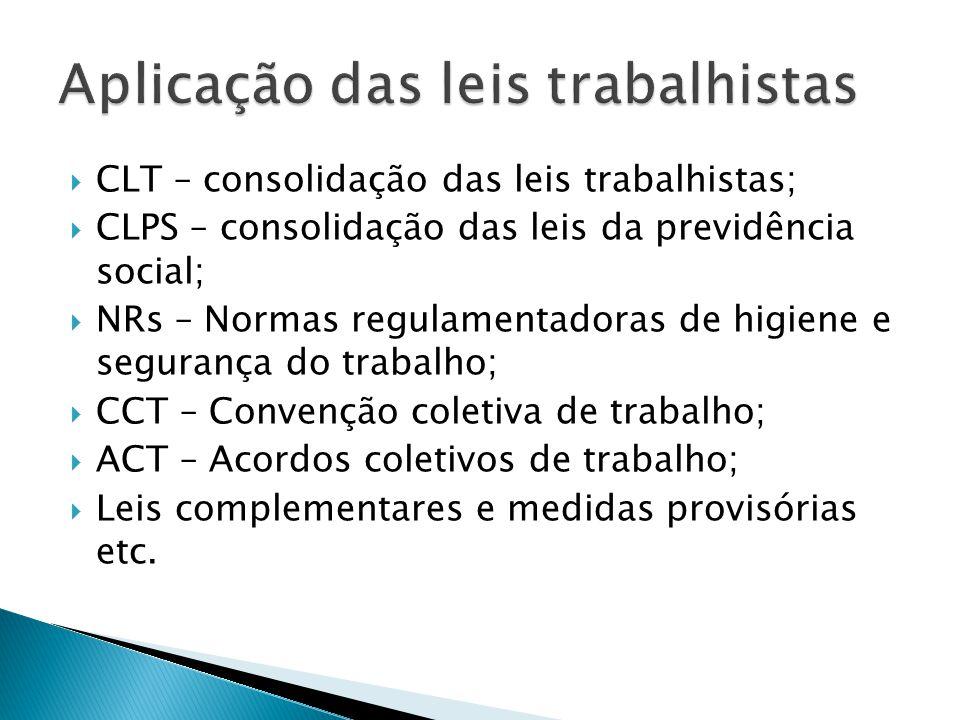  CLT – consolidação das leis trabalhistas;  CLPS – consolidação das leis da previdência social;  NRs – Normas regulamentadoras de higiene e seguran