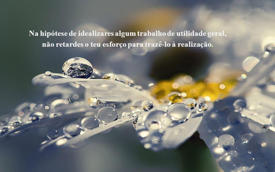Na hipótese de idealizares algum trabalho de utilidade geral, não retardes o teu esforço para trazê-lo à realização.