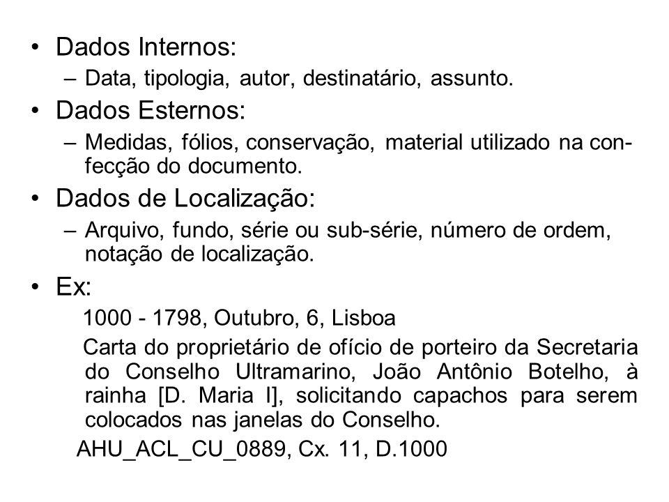 Dados Internos: –Data, tipologia, autor, destinatário, assunto. Dados Esternos: –Medidas, fólios, conservação, material utilizado na con- fecção do do