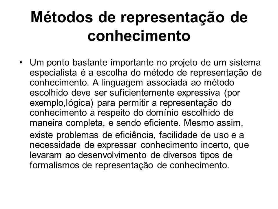 Métodos de representação de conhecimento Um ponto bastante importante no projeto de um sistema especialista é a escolha do método de representação de