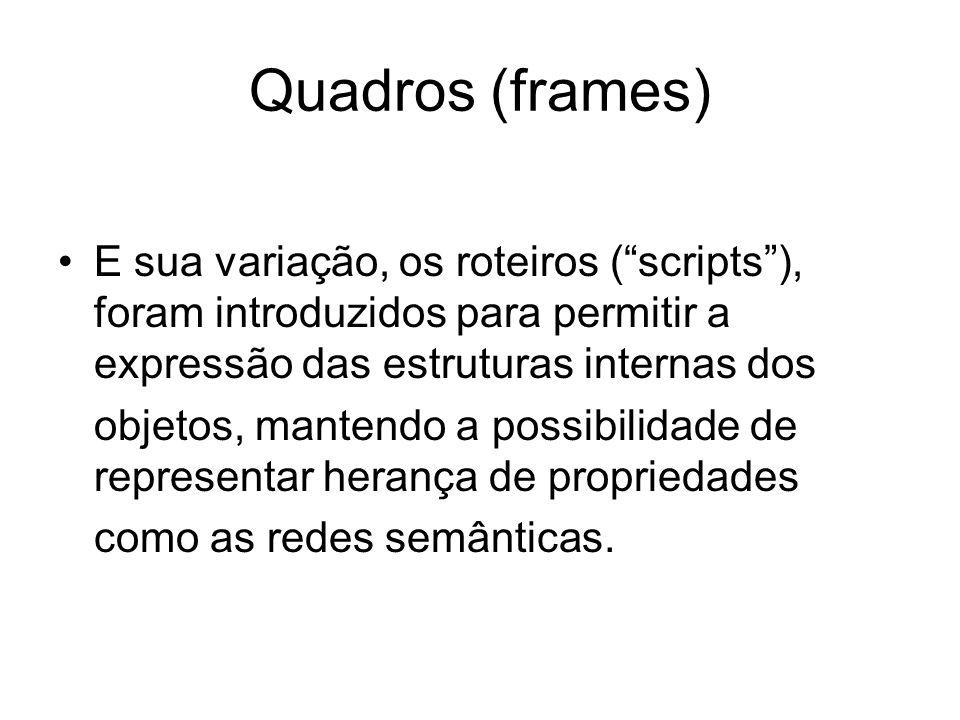 """Quadros (frames) E sua variação, os roteiros (""""scripts""""), foram introduzidos para permitir a expressão das estruturas internas dos objetos, mantendo a"""