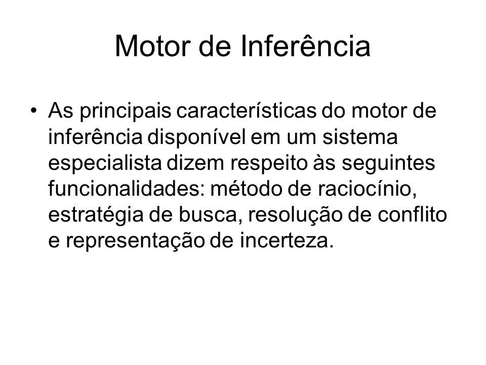 Motor de Inferência As principais características do motor de inferência disponível em um sistema especialista dizem respeito às seguintes funcionalid